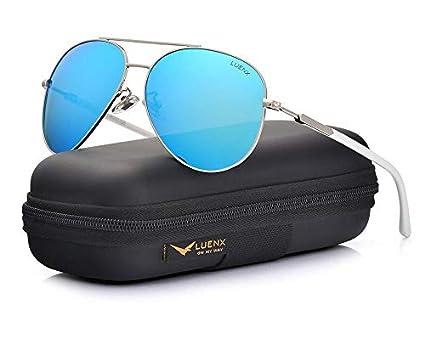 e4d38da01 LUENX Aviator Sunglasses Womens Polarized Mirror with Case - UV 400  Protection 60MM
