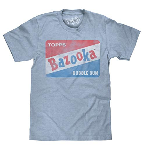 (Tee Luv Bazooka Bubble Gum T-Shirt - Vintage Topps Candy Logo Shirt (Medium) Light Blue Heather)