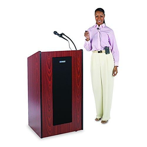 (AmpliVox SW450MH Presidential Plus Wireless Lectern, 25-1/2w x 20-1/2d x 46-1/2h, Mahogany)