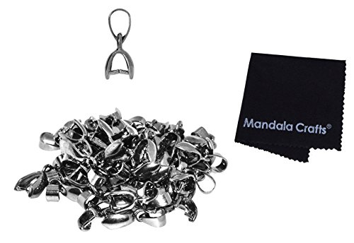 (Mandala Crafts Metal Pinch Bail, Pendant Connector, Dangle Charm Clasp Clip for Jewelry Making; 50 PCs Finding Kit (Gunmetal, 5 X 14mm))