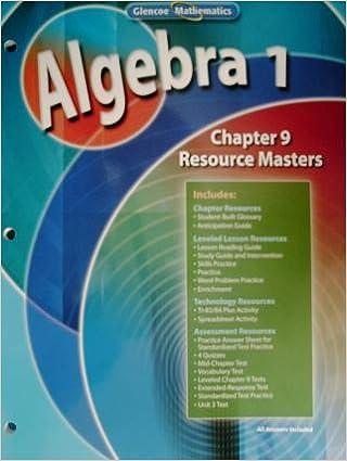 Algebra 1 Chapter 9 Resource Masters Glencoe Mathematics