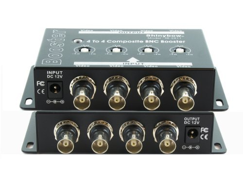 (Shinybow 4x4 (4:4) Composite BNC Video Booster Extender Distribution Amplifier)
