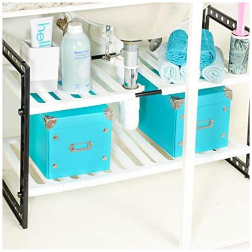 Kitchen Bee Neat Under Sink Shelf Organizer for Bathroom or Kitchen – 2 Tier Expandable Cabinet Storage under-sink organizers