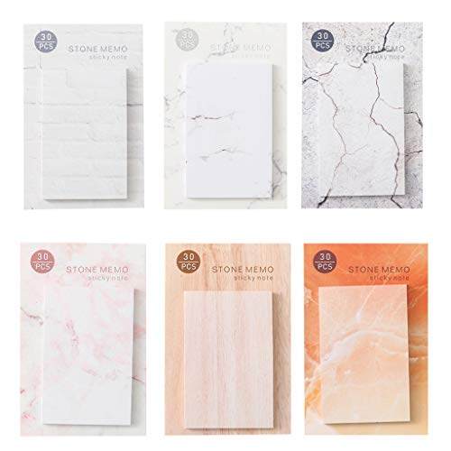 lipiny 6Pcs/Bag Portable Sticky Notes Memo with Marble Grain for Reminding Plan Schedule Office Writing Stationery