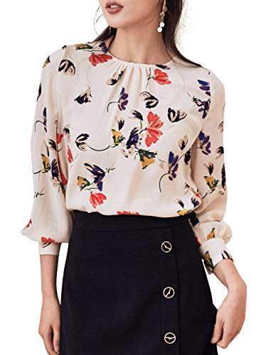 (ROEYSHOUSE Women's Long Sleeve Blouse Pullover Round Neck Chiffon Shirts Top Tees White L)