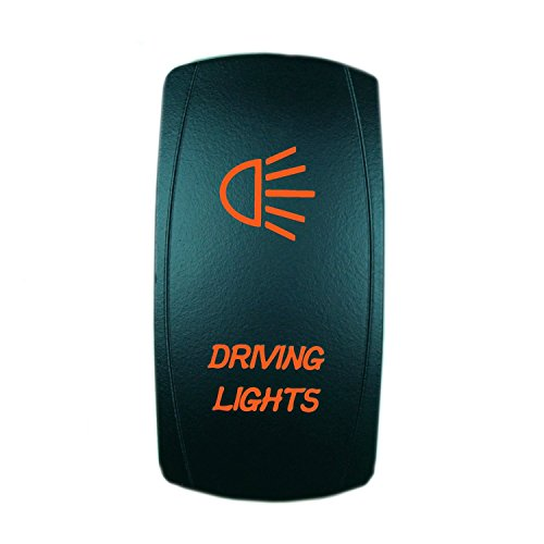 QUNQI STAR 5 pin Laser Backlit Rocker Switch DRIVING LIGHTS 20A 12V On/off LED Light Toggle Switch (Orange)