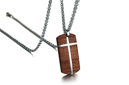 MPRAINBOW Customize Engraving Men's Cross Necklace Stainless Steel Koa Wood Dog Tag Pendant Necklace High Polish,Free Rolo - Cross Polish High Necklace
