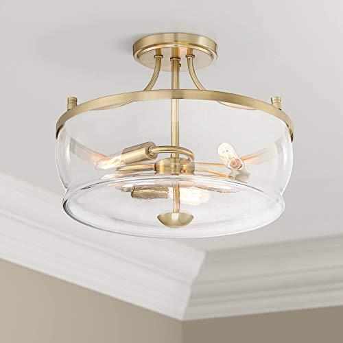 Alia Modern Ceiling Light Semi Flush Mount Fixture Warm Brass 14