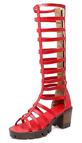 Rouge Tige Mode Sandales Fermeture Ajourer Aisun Eclair Huate Femme PC8qwzFzT