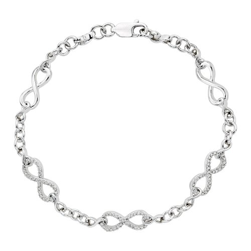 KATARINA Diamond Infinity Link Bracelet in 14K White Gold (1/4 cttw)