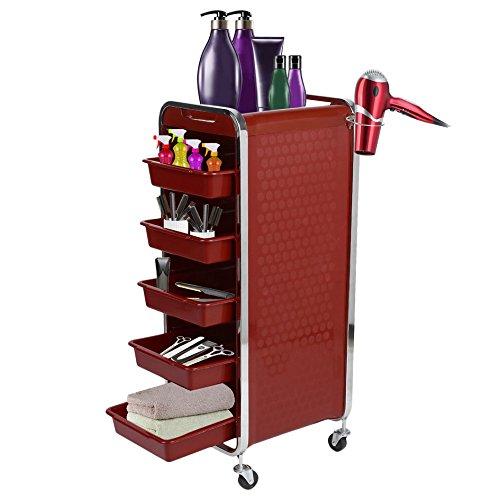 Homgrace Carrello Portaoggetti per Parrucchiere a 6 Ripiani con Porta Phon, Carrello Professionale per Belleza Estetista Massaggi Manicure Spa (Rosso) Y1703010