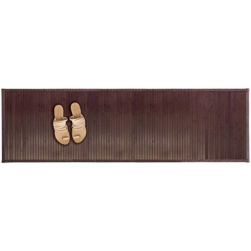 mDesign Water-Resistant Bamboo Floor Mat for Bathroom - Extra Large, Mocha Brown