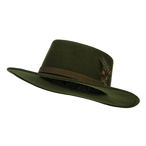 (Jeanne Simmons Feather Accent Wool Felt Gambler Hat (Large, Olive))