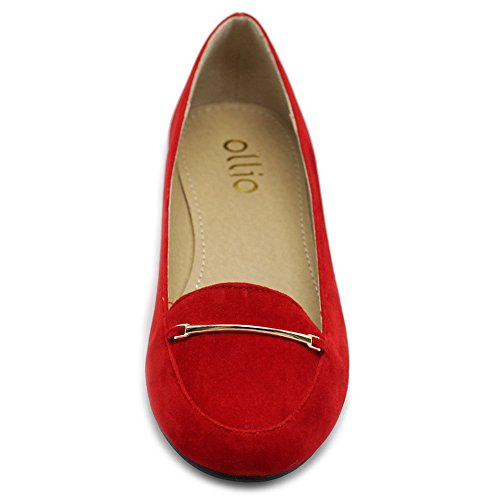 Light Flats Gold Suede Ballet Women's Band Comfort Shoe Ollio Faux Red 6wz1WEqAx