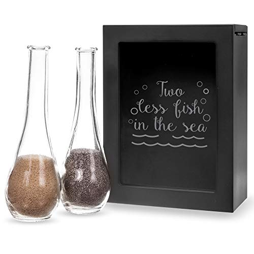 (Abby Smith Two Less Fish in The Sea Engraved Black Unity Sand Ceremony Shadow Box Set)