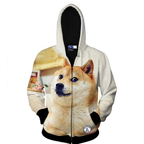 XYL HOME Sweatshirt,Unisex Realistic 3D Akita Digital Print Fashion Pullover Hoodie Hooded Sweatshirt, XL ()