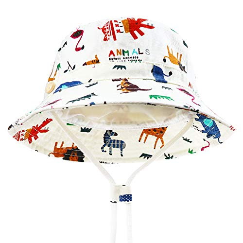 BQUBO Baby Sun Hat Toddler Sun Protection Animal Cap Unisex Summer Bucket Hat with Chin Strap UPF 50+ ()
