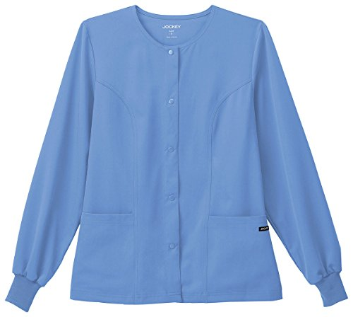 Classic Fit Collection by Jockey Women's Round Neck Solid Scrub Jacket Medium (Solid Round Neck Scrub Jackets)