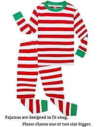 Striped Boys Girls 2 Piece Christmas Pajamas Set 100% Cotton Pjs