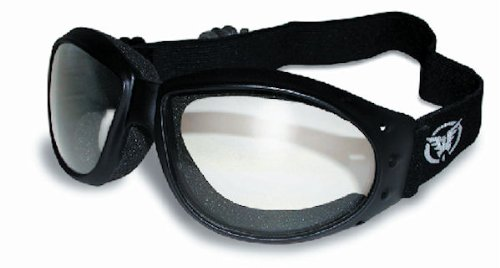 Red Baron Motorcycle / Aviator Goggles Black Padded Frame w/ Clear - Aviator Goggles