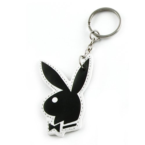 New Official Licensed Playboy Black Leather Keychain