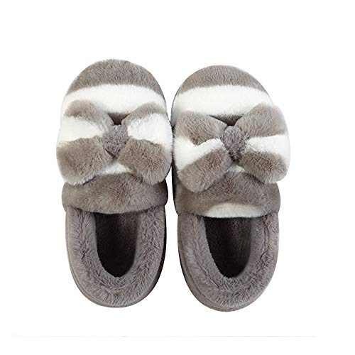 bow shoes Rabbit Linenlux Fur Shoes Slippers Winter For With Gray knot Women Bow House knot Home 66HWnqr