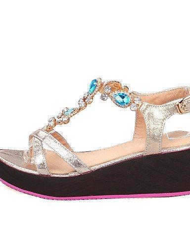 Femmes Orteils Ouvert Coincent Or Chaussures Bleu Sandales Or Coins Argent Robe Shangyi Talon d6ZXqYX