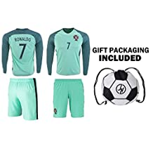 JerzeHero Portugal Ronaldo #7 Kids Youth Soccer Gift Set ✓ Soccer Jersey ✓ Shorts ✓ Soccer Ball Drawstring Bag ✓ Home or Away ✓ Short Sleeve or Long Sleeve
