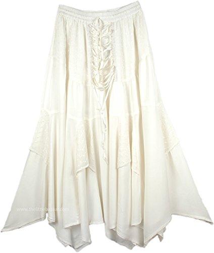 "TLB - Medieval White Handkerchief Hem Skirt - L:30"" - 36""..."