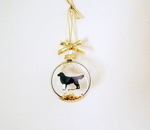 Golden Retriever Christmas Ornament Gold Glitter Bow Glass Dog Silhouette (Glass Retriever Ornament)