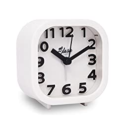 Slash 3D Digital Creative Desk Alarm Clock, Simple Candy Color for Sitting Room, Bedroom, Office, Snooze Function, Non Ticking, Nightlight Function (White)