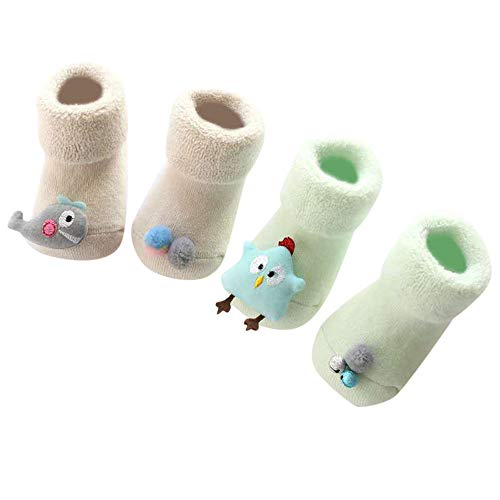 Price comparison product image Lisin 2 Pairs Newborn Baby Kids Unisex Socks Comfortable Cartoon Cute Slippers Warm Socks (Green)