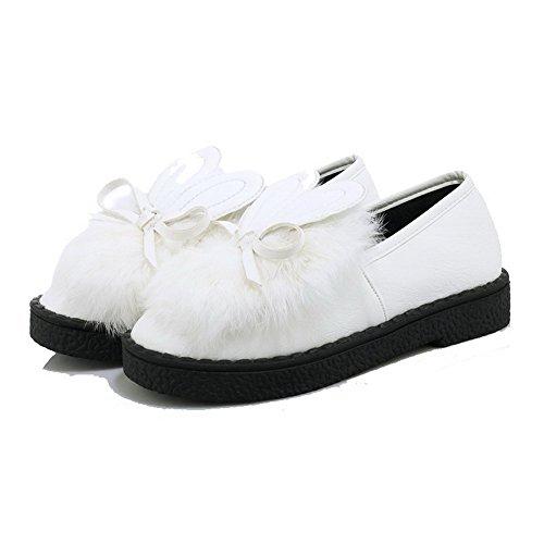 Voguezone009 Pumper Pull on Hvit Lukkede Kvinners Solide Hæler Tå Lave sko Runde 71wx7rqBU