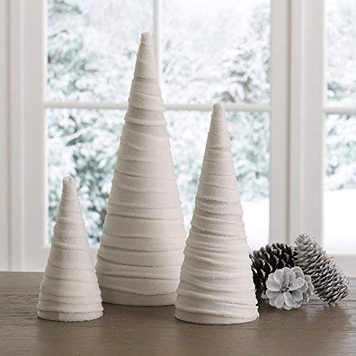 Amazon Com Velvet Trees Set Of 3 Winter White Modern Holiday