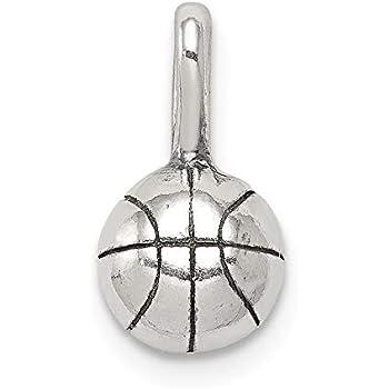 Sterling Silver Basketball Charml 3D Enamel Ball USA Seller
