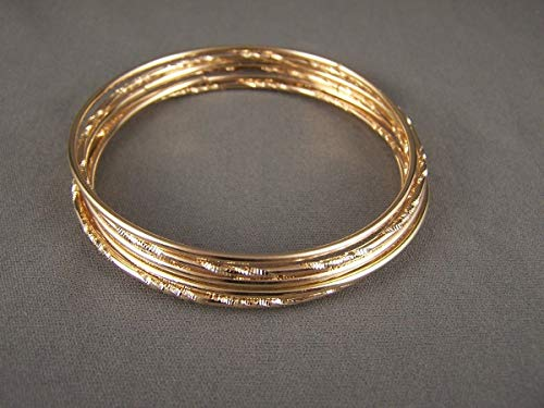 Gold tone set pack of 7 metal thin skinny bangle bracelet shiny 2.75 wide
