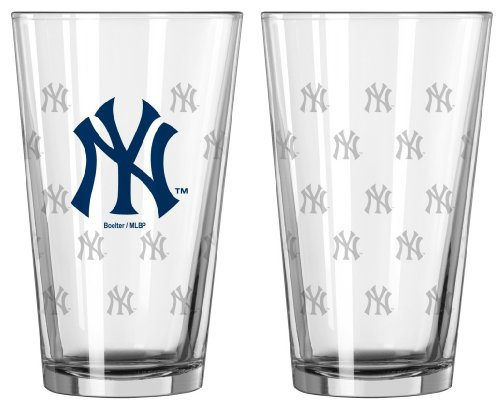New York Yankees Satin Etch Pint Glass - Glasses Ny