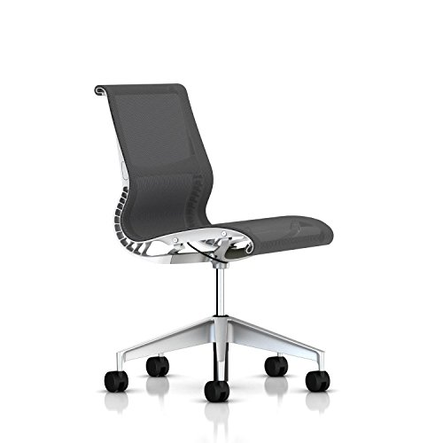 (Herman Miller Setu Ergonomic Office Chair with Kinematic Spine | Armless with H-Alloy Base and Hard Floor Casters | Studio White Frame and Alpine Lyris)