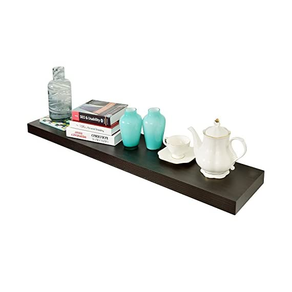 """WELLAND 2"""" Thickness Mission Floating Wall Shelf, 59 7/8"""" Length, Espresso - DIMENSIONS ---- Approximate 2""""T x 9 1/4""""D x 59 7/8""""L.9 1/4"""" of depth is the most common Sturdy Structure ---- Made of high-quality, light-weight MDF.Honeycomb board be filled in,increase the loading weight,Wall anchors made from metal instead of plastic Function ---- Free up space, reduce clutter and highlight your wall decor in a small or large area,ideal for displaying pictures, DVD players, videos, books and so on - wall-shelves, living-room-furniture, living-room - 41Ogs%2BPwCML. SS570  -"""