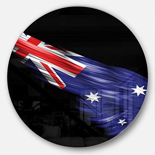 Designart mt8860-c38Wing con bandera australiana arte Digital redondo arte de la pared, 96.5x 96.5cm, azul/rojo