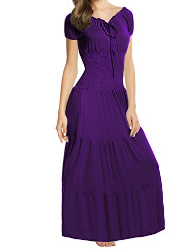 Elesol Women Renaissance Boho Cap Sleeve Smocked Waist Tiered Party Maxi Dress Purple L