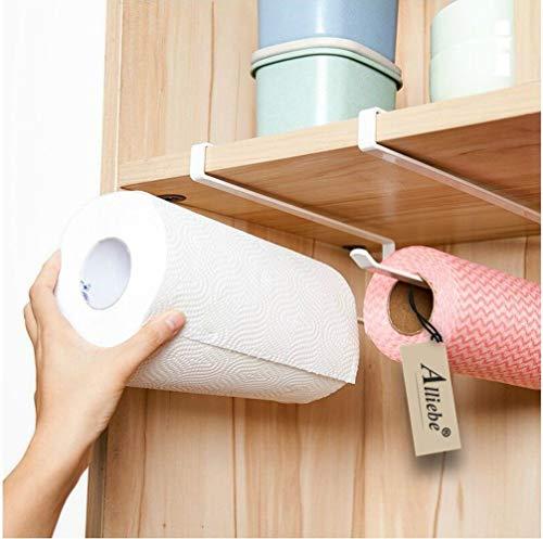 Alliebe 2pcs Paper Towel Holder Dispenser Under Cabinet Paper Roll Holder Rack Without Drilling for Kitchen Bathroom