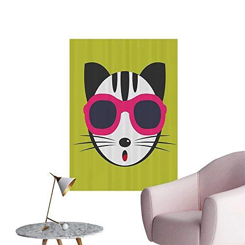 Modern Painting Kitten Wearing Pink Sun Glasses Cool Modern Hipster Cat shi Fun Pets Home Decoration,20