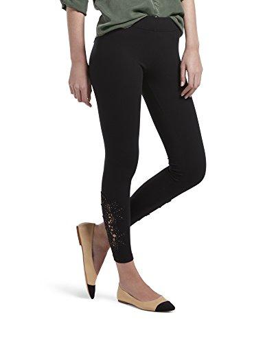 Leggings Cotton Lace - HUE Women's Fashion Cotton Leggings, Assorted, Lace Insert - Black, L