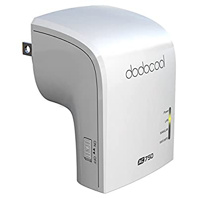 dodocool Wi-Fi Range Extender Wireless AP / Repeater / Router AC750 Dual Band 2.4GHz 300Mbps and 5GHz 433Mbps US Plug