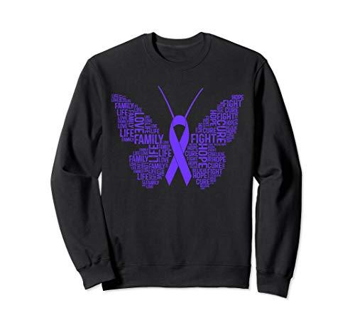 Awareness Purple Ribbon Gifts Fight Hope Cure Butterfly Sweatshirt
