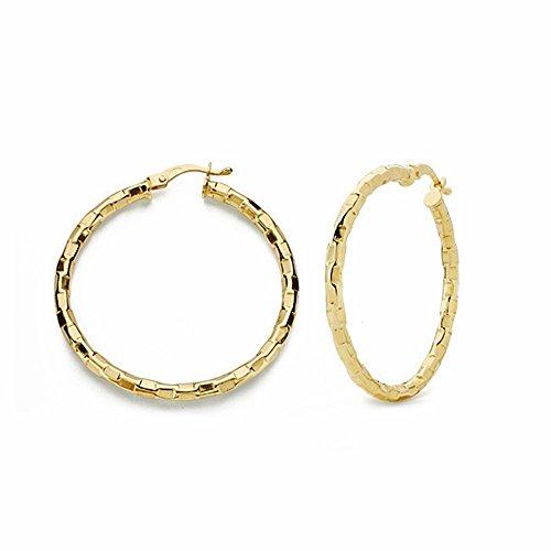 Boucled'oreille 34mm 18k anneaux d'or. tables sculptées creuses [AA1641]