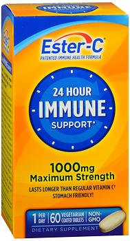 Ester-C 24 Hour Immune Support 1000 mg Maximum Strength Vegetarian Tablets - 60ct, Pack of 6 by Ester-C