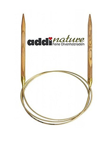 addi Olive Wood 24 inch (60cm) Circular Knitting Needles; US size 10.75 (7 mm), Made in Germany - 575-7/60/7