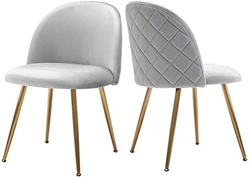 Groovy Upholstered Velvet Dining Chairs Tufted Accent Living Room Chairs With Gold Plating Metal Legs For Living Room Kitchen Vanity Patio Set Of 2 Dailytribune Chair Design For Home Dailytribuneorg